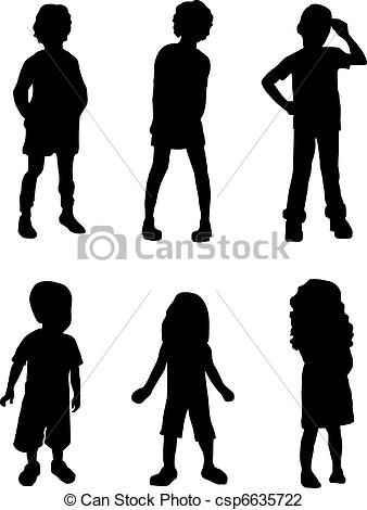 Vector Illustration Of Shadow Kids Silhouettes Of Kids Csp6635722 Search Clipart Illustration Drawings And Kids Silhouette Silhouette Shadow Silhouette