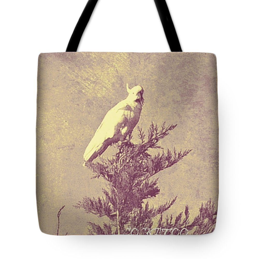 "Cockatoo Tote Bag by Meiers Daniel (18"" x 18"").  The tote bag is machine washable, available in three different sizes, and includes a black strap for easy carrying on your shoulder.  All totes are available for worldwide shipping and include a money-back guarantee."