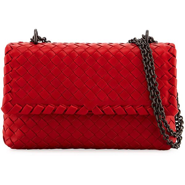 Bottega Veneta Baby Olimpia Intrecciato Shoulder Bag (8,250 SAR) ❤ liked on Polyvore featuring bags, handbags, shoulder bags, new china, red handbags, chain shoulder bag, chain handle handbags, red shoulder handbags and woven leather purse