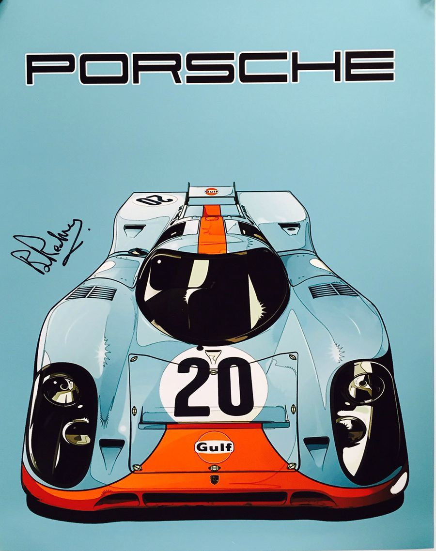 Gulf Porsche 917k 20 Le Mans 24 Hours 1970 Poster Signed By
