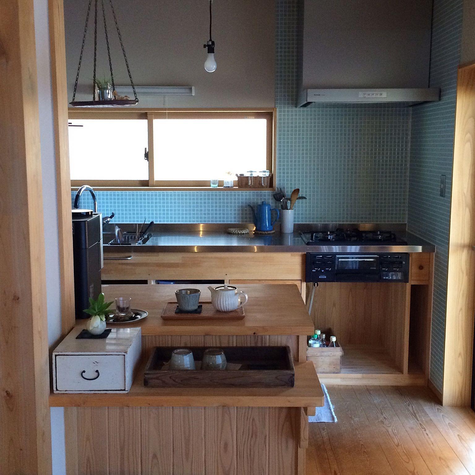 古道具/古いものが好き/造作キッチン/木の家/キッチンカウンター