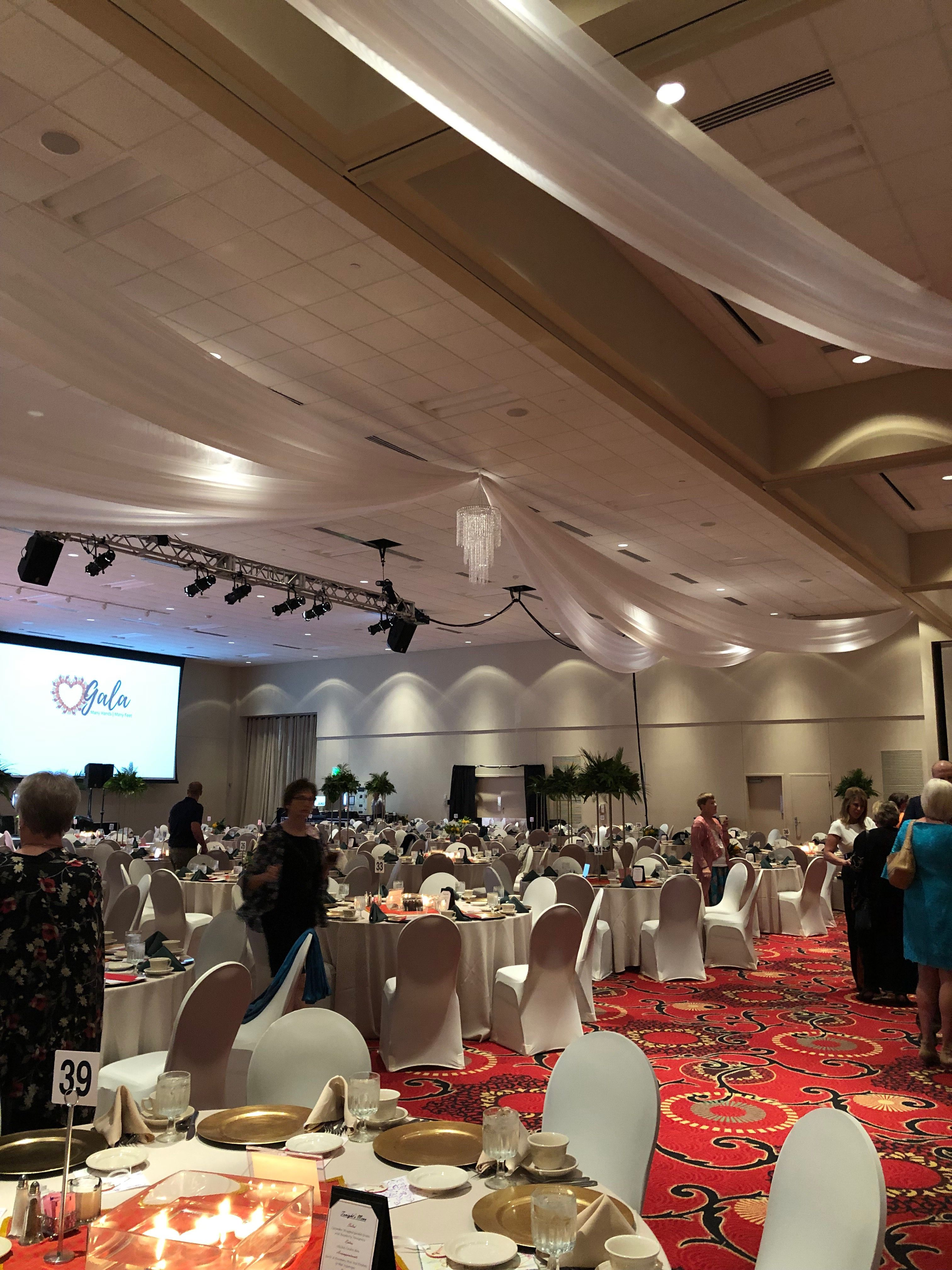 Ceiling Draping With Free Crystal Chandelier In Des Moines Iowa By Beyond Elegance Ceiling Draping In 2019 Ceiling Draping Ceiling Linen Rentals
