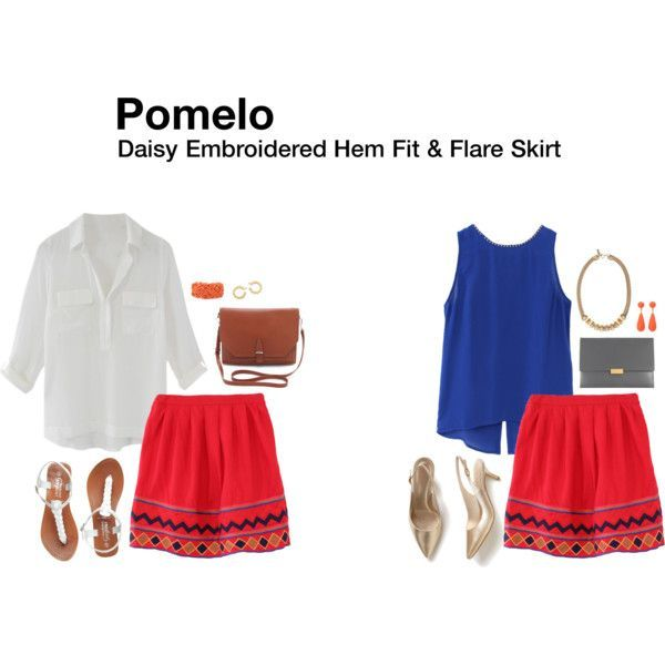I like the detailing, cut, and colors on this skirt a lot! (Pomelo Daisy Embroidered Hem Skirt)