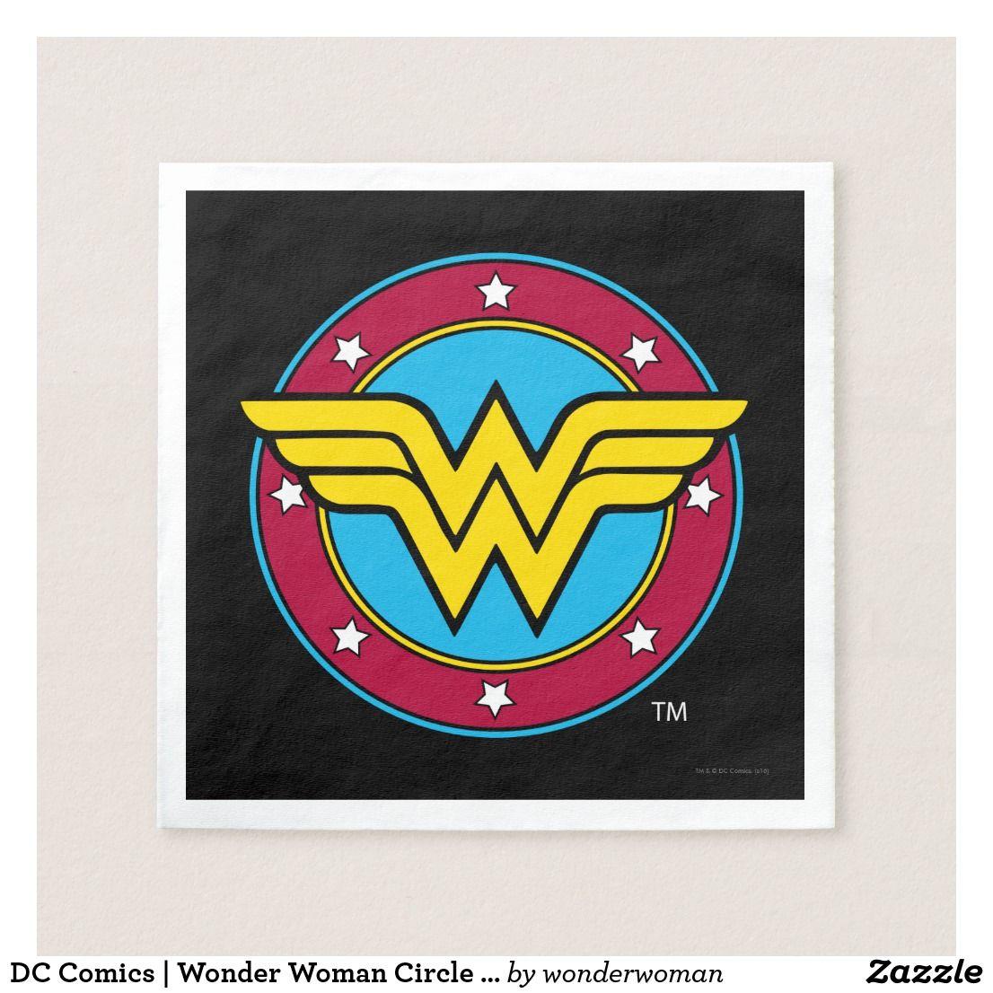 DC Comics   Wonder Woman Circle & Stars Logo Paper Napkin