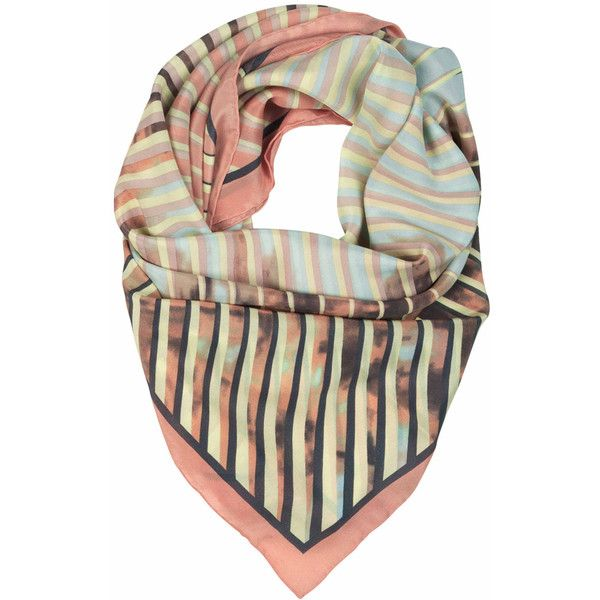 Becksondergaard H Palme Lines Silk Scarf - Dusty Peach ($115) ❤ liked on Polyvore