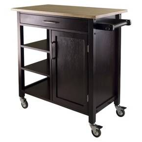 Mali Natural Top Kitchen Cart Wood/Coffee - Winsome : Target