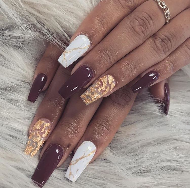 burgundy maroon white marble and gold coffin nails | Acrylic Nails ...