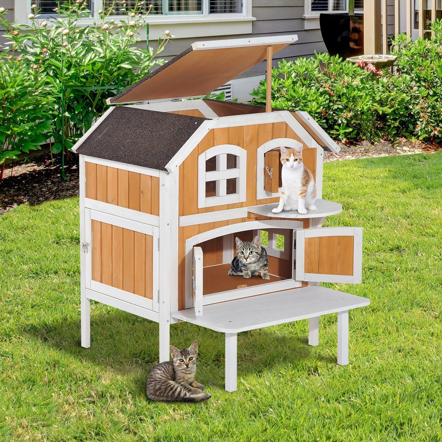 Cat House For Outdoor Indoor Cats Wooden Raised Elevated Home Cottage Kennel House Deals Wooden Cat House Outdoor Cat Shelter Outdoor Cat House
