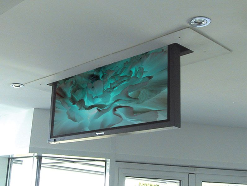 Tv screen from the cieling pli inverted plasma lift for Motorized ceiling drop down tv mount