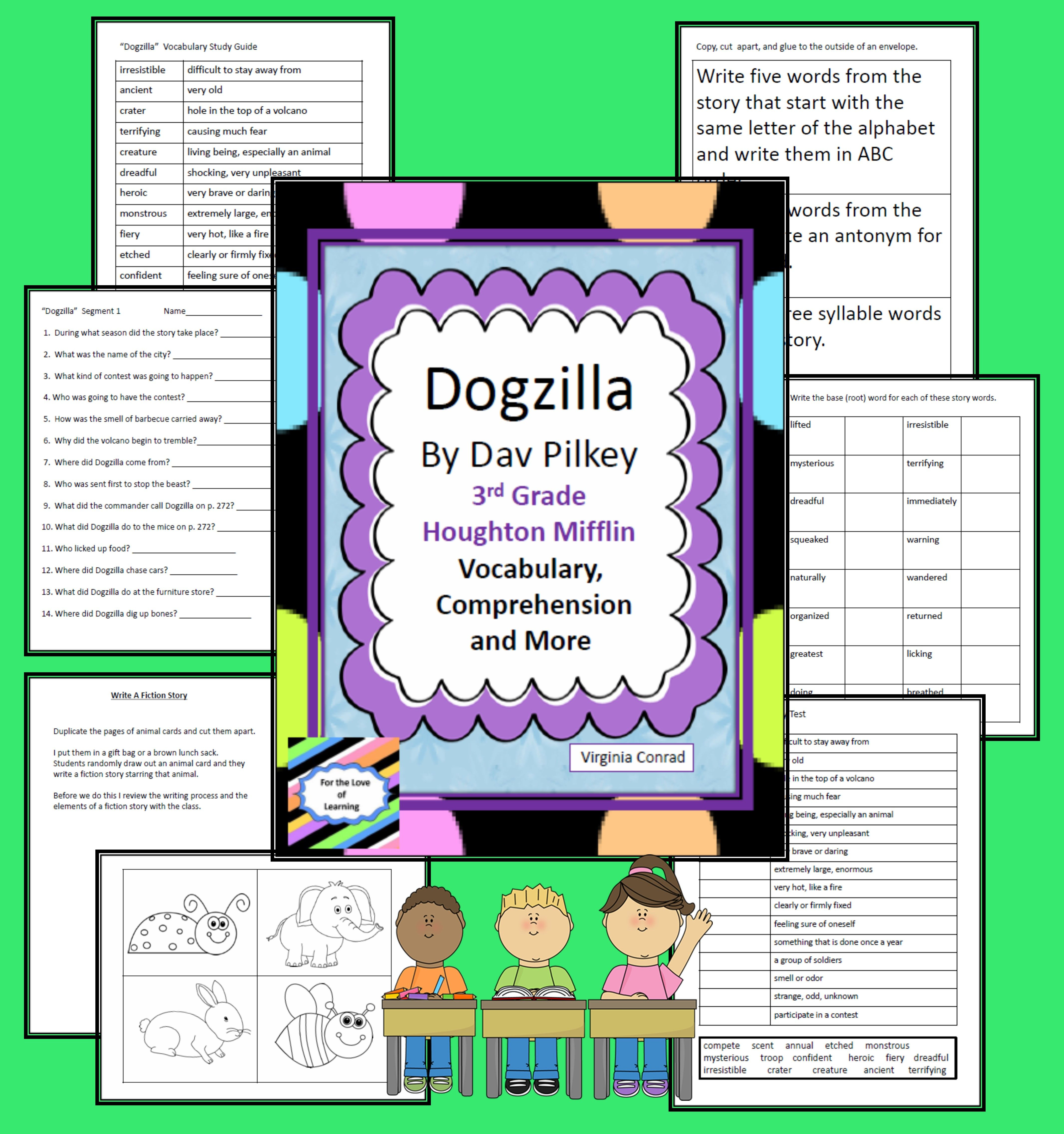 Supplemental Goodies For Comprehension And Vocabulary From Dogzilla In The Houghton Mifflin Third Grade Basal Vocabulary Teaching Third Grade Comprehension [ 4541 x 4262 Pixel ]