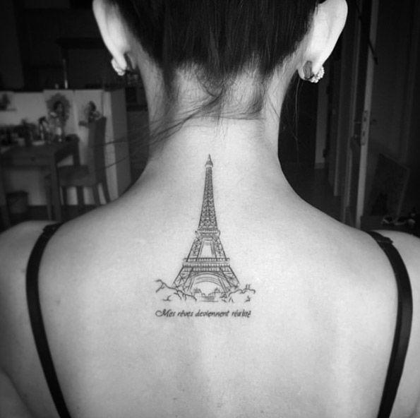 40 beautiful back neck tattoos for women tattoo tattoo and tatting rh pinterest co uk eiffel tower tattoo ideas eiffel tower tattoo designs