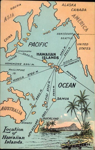 Map Of Hawaiian Islands Maps Postcard Hawaje Plakat I Podroze