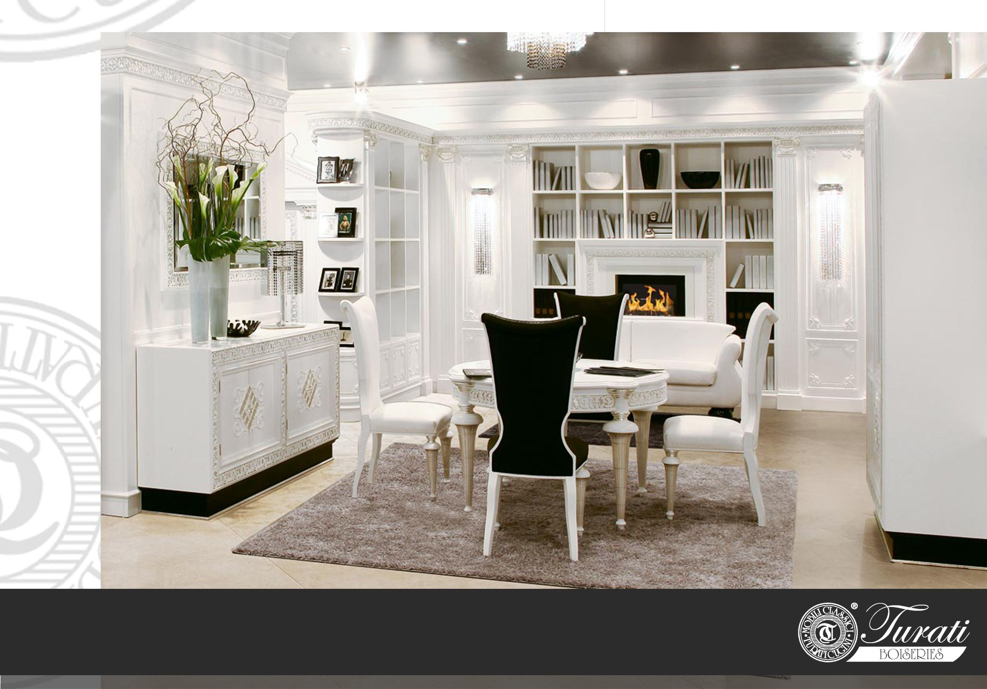 Boiserie moderne soggiorno e cucina   Decorazioni in ...