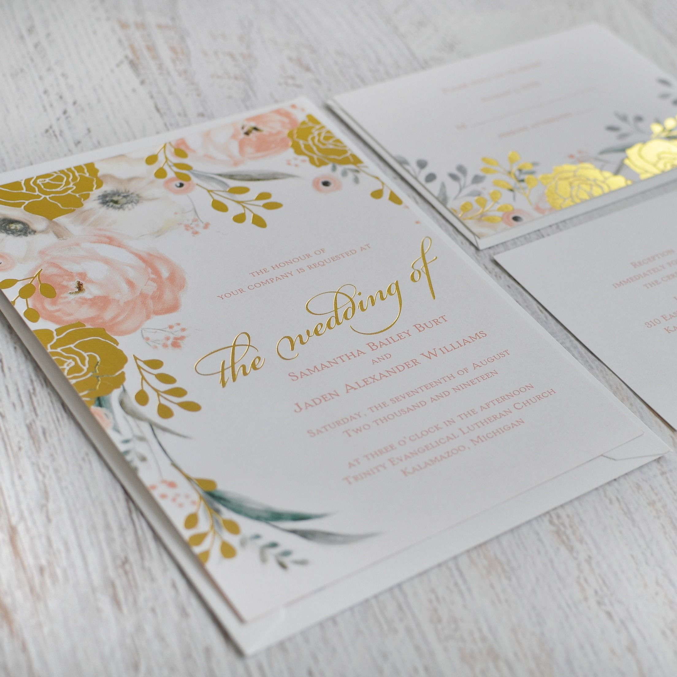 You Must See These Watercolor And Gold Foil Wedding Invites A