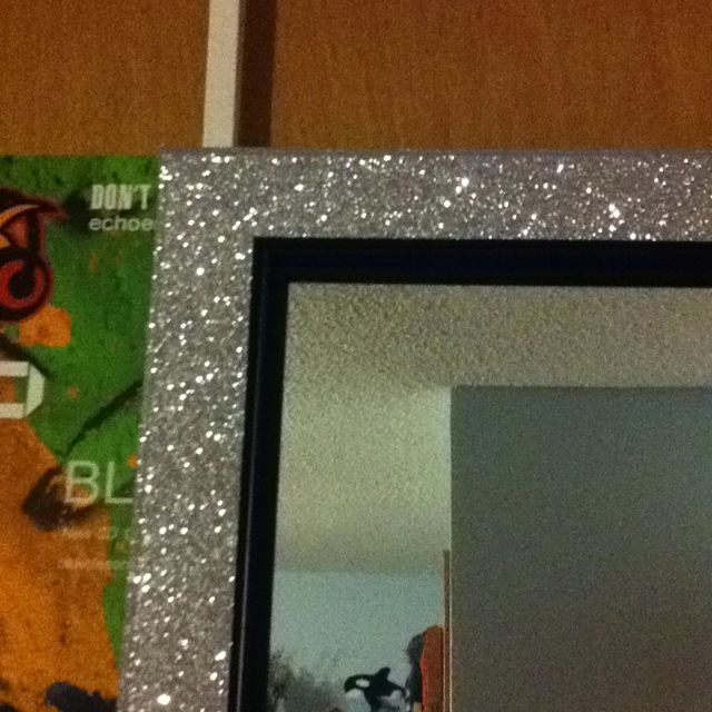 Bought A Plain Door Mirror And Covered The Frame With Glitter Tape From Michaels For Our Dorm Glitterroom Mirror Frame Diy Diy Mirror Glitter Room