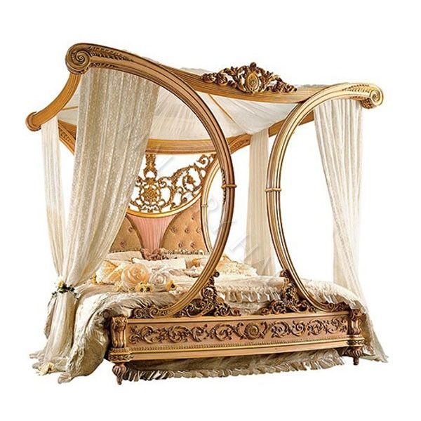 Beautiful royal golden cleopatra canopy bed hand carved Beautiful canopy beds