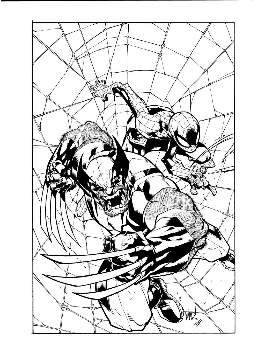 Joe Mad Wolverine Spiderman Inks By Ubermorte Deviantart Com On Deviantart Wolverine Art Inks