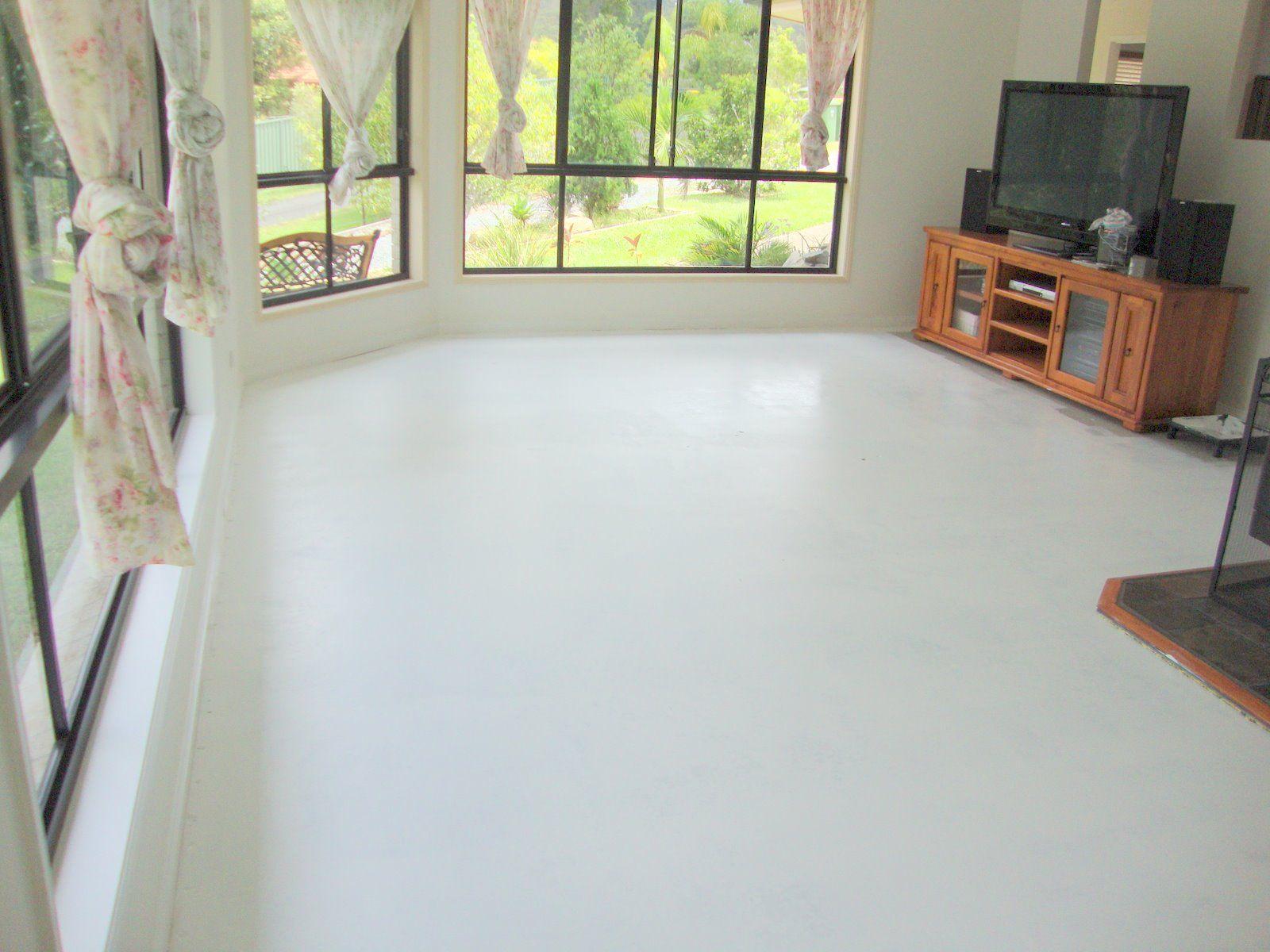 White Painted Concrete Floor Google Search Basement Concrete Floor Paint Painted Concrete Floors Painting Basement Floors