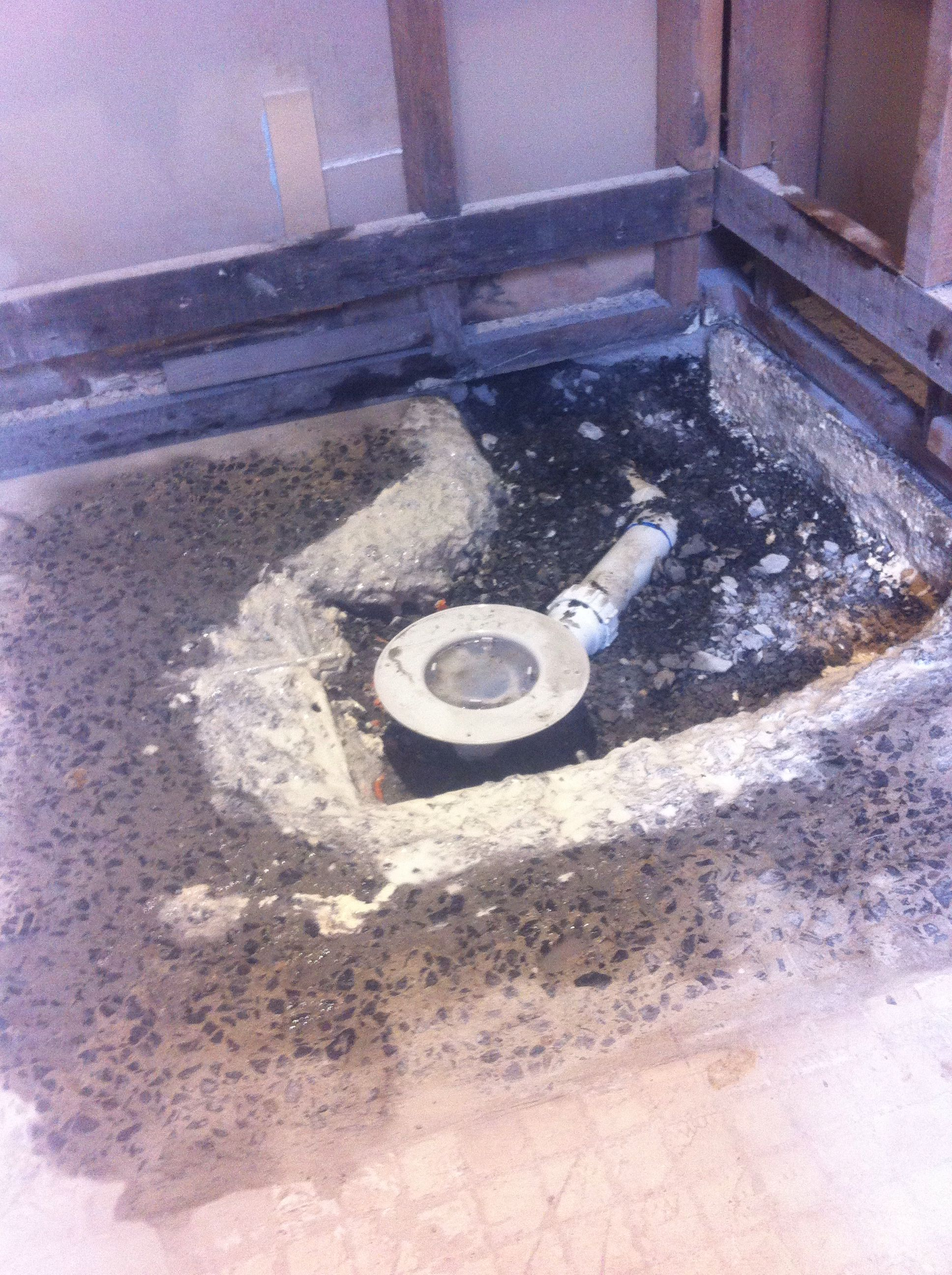 Preparing For A Stepless Shower Base In An Existing Concrete Slab Shower Remodel Shower Base Outdoor Decor