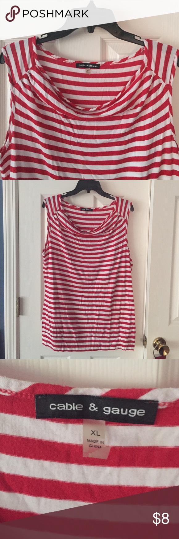 🎉 buy 2, get 1🎉Striped top Red and white striped tee.  Comfortable and great condition.  Cable and Guage size XL.   🎉 add freebie choice in comments!🎉 any $7 or less item! 🎉 Cable & Gauge Tops Tank Tops