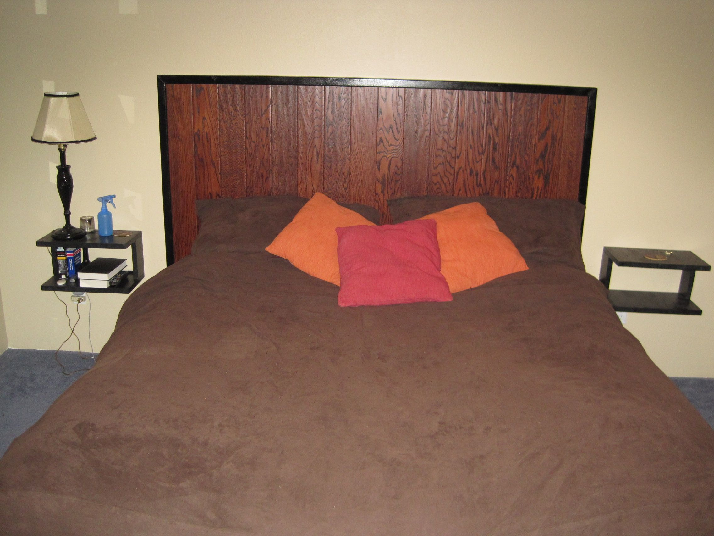 Headboard built out of 2x3s and extra wood flooring my for Cheap hard flooring ideas