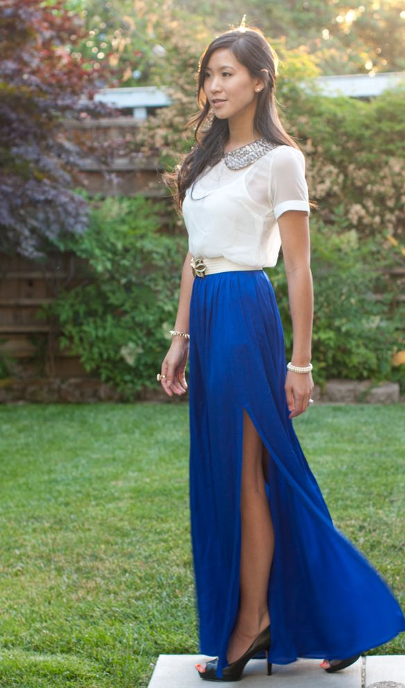 Amazing maxi skirt and jewel collared blouse | Fashion - Long ...