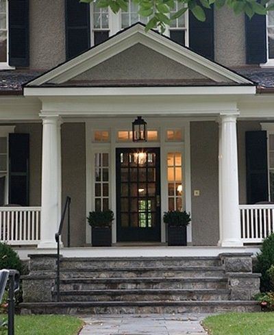 Gray House, White Trim, Black Door U0026 Shutters ~Love The Exterior Colors And  The Front Door.