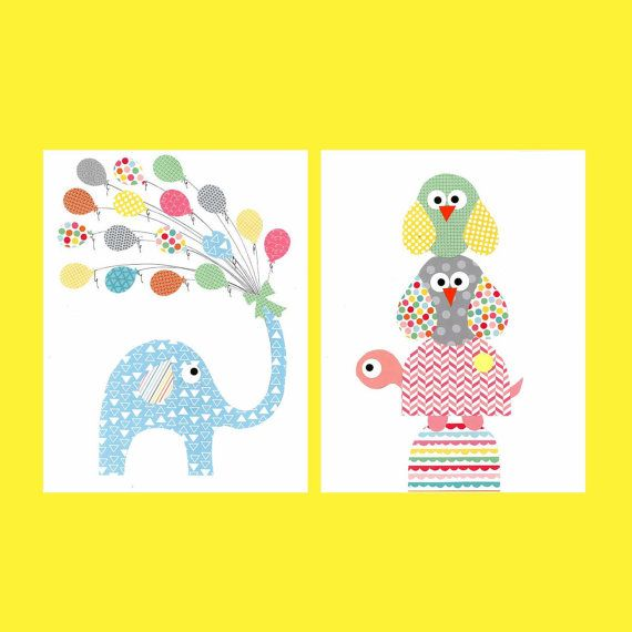 Blue Elephant, Turtle and Owl Nursery Artwork Print // Baby Room Decoration // Kids Room Decoration // Gifts Under 20 on Etsy, $28.00