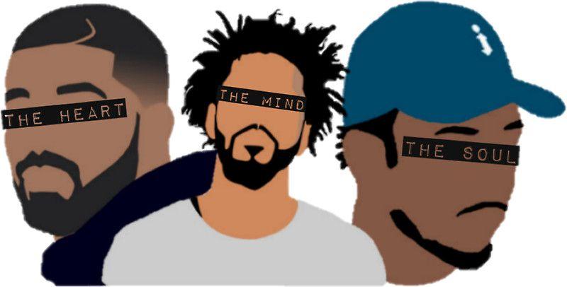 Drake j cole kendrick lamar heart mind soul sticker by sam gendelman