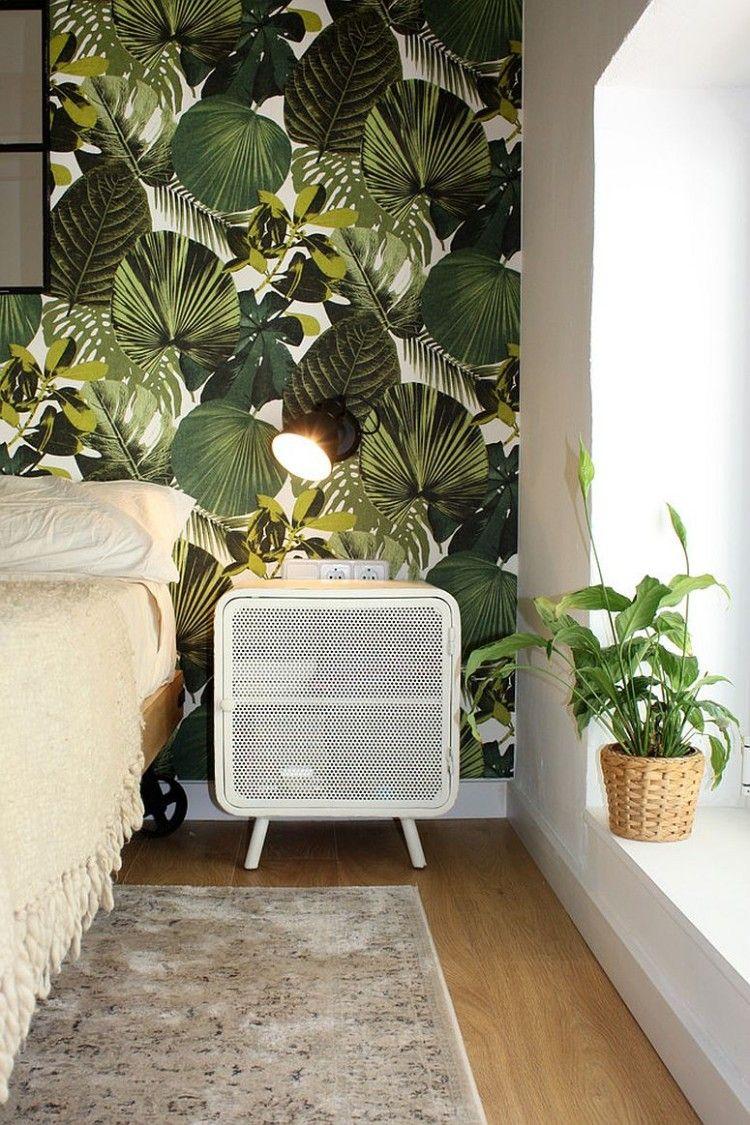 Déco tropicale dans la chambre à coucher pour une ambiance