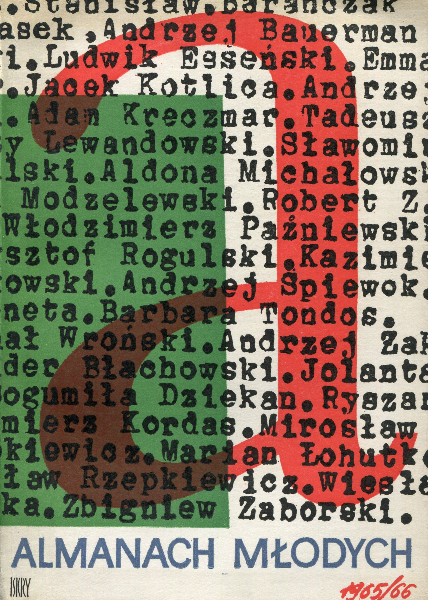 """""""Almanach młodych"""" Edited by Tadeusz Konwicki and Artur Międzyrzecki Cover by Jerzy Jaworowski Published by Wydawnictwo Iskry 1966"""