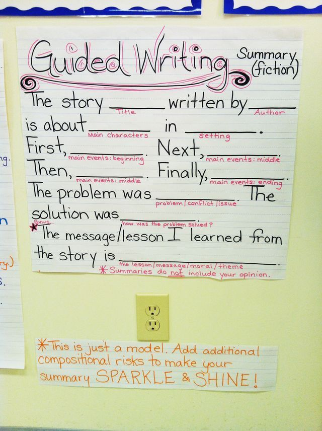 Guided Writing Summary Anchor Chart {image only} Reading Ideas - how to write a summary analysis and response