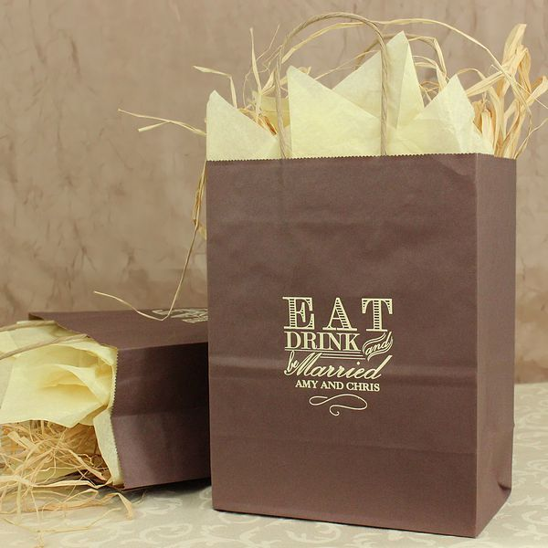 8 X 10 Eat Drink And Be Married Personalized Gift Bags Set Of 25