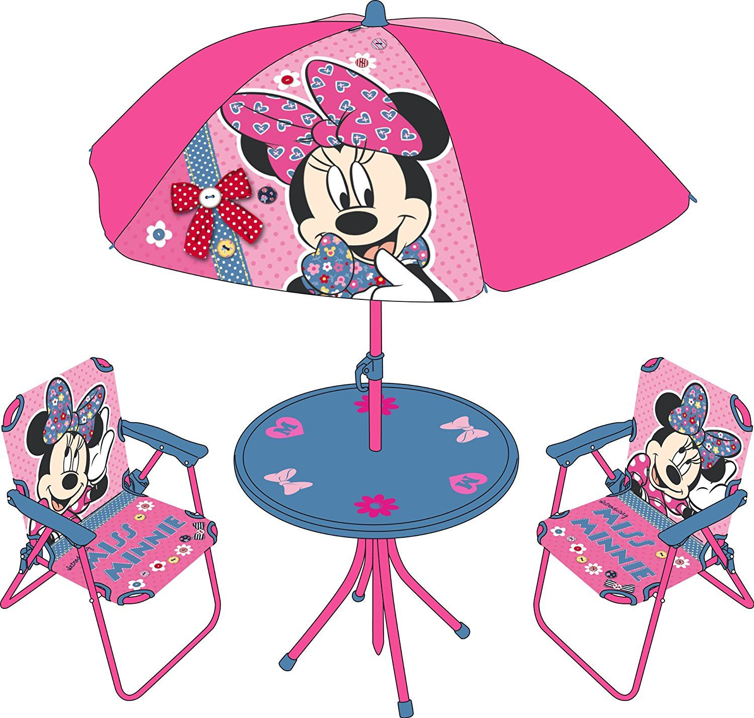 Minnie Maus Sessel Minnie Mouse Kinder Gartengarnitur 2 Sessel Sonnenschirm