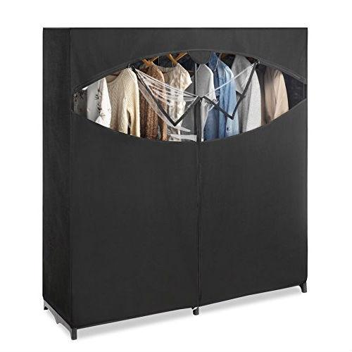 Metal Frame Black Fabric Wardrobe Clothes Closet Garment Rack is part of Dance Clothes Storage - Store seasonal clothes or create a permanent clothing storage solution with this Metal Frame Black Fabric Wardrobe Clothes Closet Garment Rack  The closet features added wired support for 60Inch closet rod and a zippered front opening with clear view window  New easy assembly using a bungee cord system   Metal Frame Black Fabric Wardrobe Clothes Closet Garment Rack  Breathable fabric to keep your slacks, shirts, blouses, and more fresh and wellprotected  Perfect for storing costumes, special occasion garments, or keepsake uniform  Clear window makes identifying the contents of this wardrobe easy and convenient  Easy access zipper is durable and functions smoothly  A great way to free up space in a bedroom closet or store garments that are seldom worn Dimensions  33 5 x 12 x 4 3 inches  Weight 11lbs   Shipping Weight 11lbs
