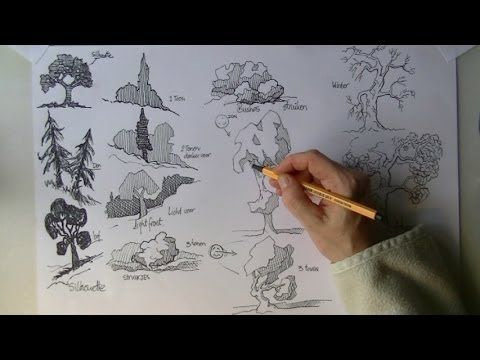 How To Draw Trees Perspective And Landscapes By Lineke Lijn Drawing Technique Realistic Drawings Tree Drawing Drawings