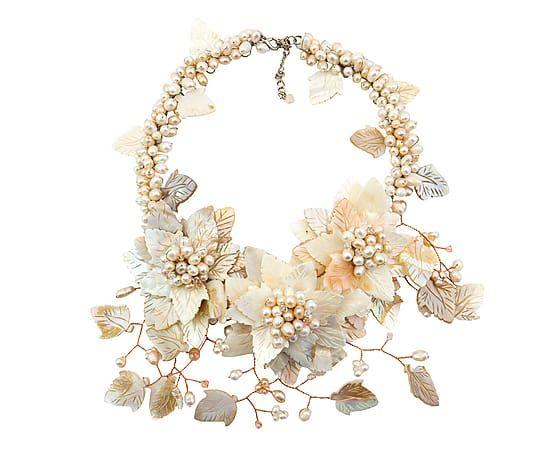 Collar de madreperla y perlas - beige
