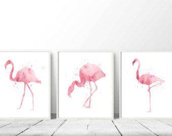 3 Pink Flamingos, SET of 3 Flamingos, Flamingo Watercolor, Flamingo Painting, Home Wall Décor, Flamingo Printable, Set of Three, Triptych