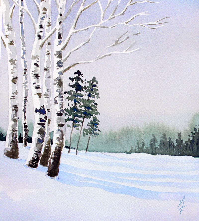 An Easy Approach To Painting A Watercolor Landscape Winter