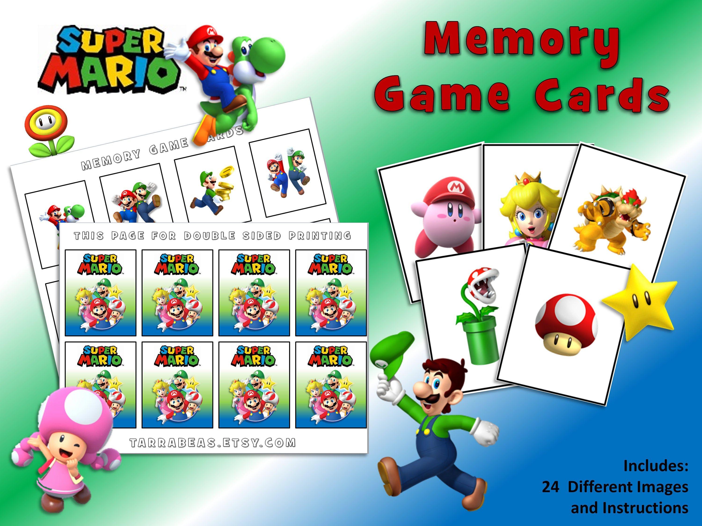 Super Mario Bros Memory Card Game Printable Party Game In 2020 Card Games Party Printables Card Making Paper
