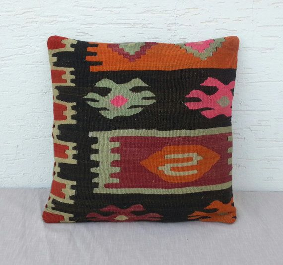 VINTAGE  Home Decor Turkish Kilim Pillow Cover 16''x16'',Tribal Kilim Pillow,Decorative  Throw Kilim Pillows,Soft Pillow,Fast Shipping.