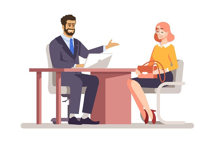 Job Interview Flat Illustration Job Interview Office Cartoon Motion Design Animation