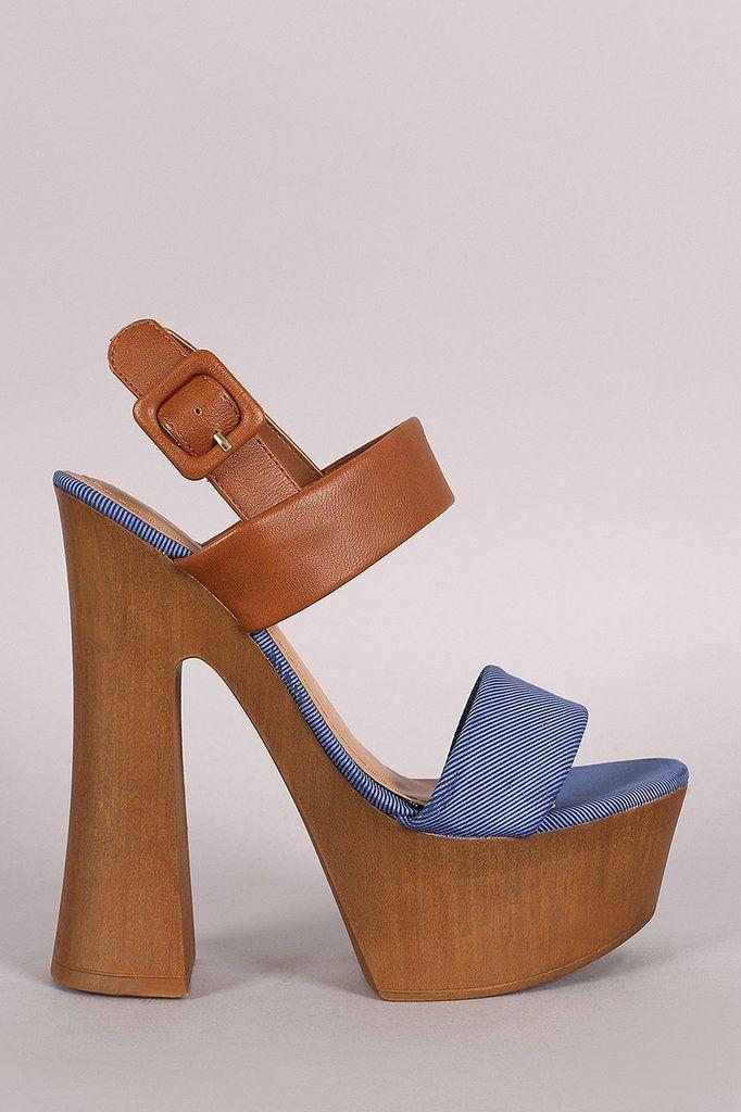 Bamboo Denim Print Slingback Chunky Platform Spool Heel – Style Lavish