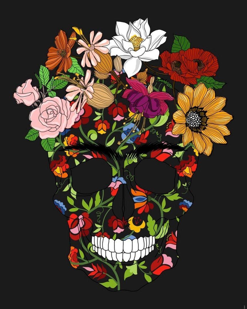 Skull And Flowers Skull Caveira Art Draw Style California