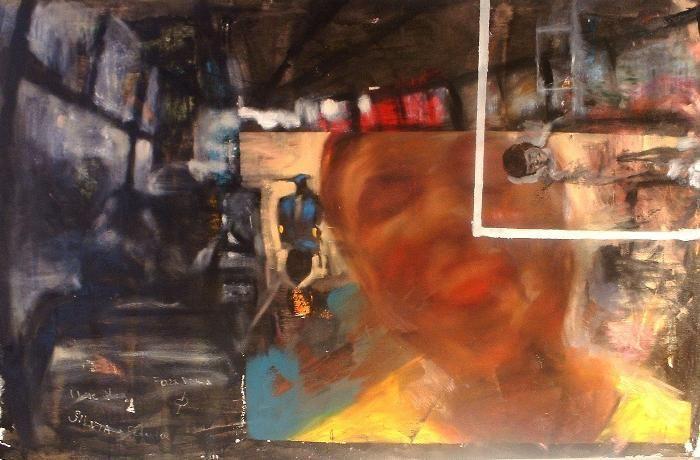 Autoritratto con vespa (100x150). Orvieto