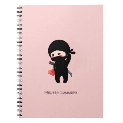 Shy Blushing Ninja Origami Heart Custom Name Notebook Paper Gifts