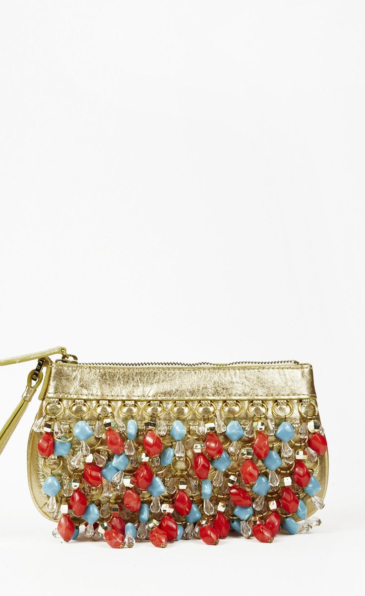 Rafe Gold Orange And Turquoise Clutch Bag