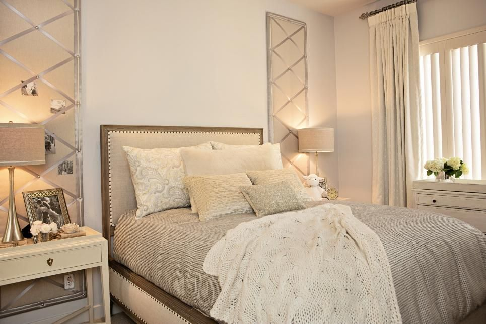 This Guest Bedroom Is Decorated With Light Fresh Textures