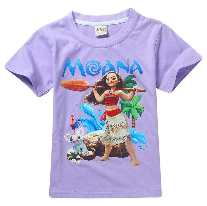 2017 Newest Moana Tee Cartoon Short Sleeves T-Shirts Kids Baby girls Top