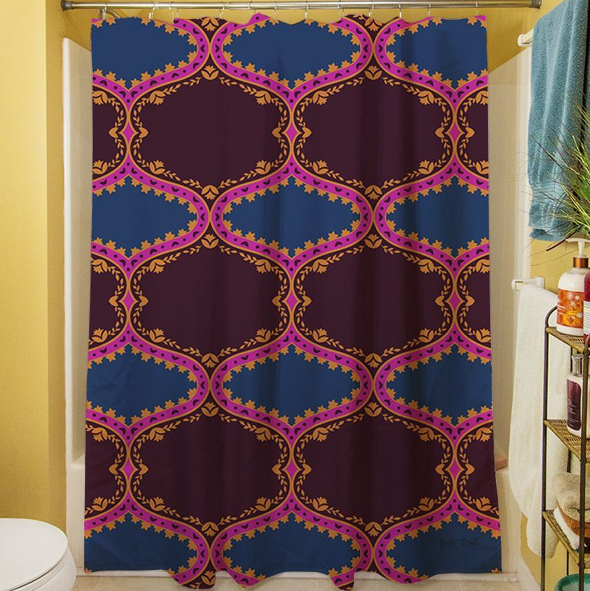 Bird Berries Folk Ogee Shower Curtain